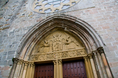 Entrance door to the Real Colegiata Church in Roncesvalle, Spain on the Camino de Santiago.
