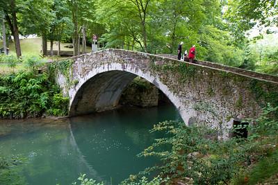 Medieval ridge over the river Nive in St-Jean-Pied-de-Port, France on the Camino de Santiago.