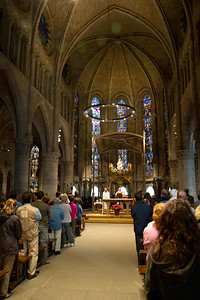 Pilgrim Mass is conducted daily at the Real Colegiata Church in Roncesvalle, Spain on the Camino de Santiago.