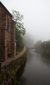 Morning mist over the River Nive in St-Jean-Pied-de-Port, France on the Camino de Santiago.