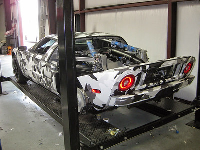 Custom Snow Camo pattern wrap with a matte laminate on a Ford GT in Austin, TX.www.skinzwraps.com