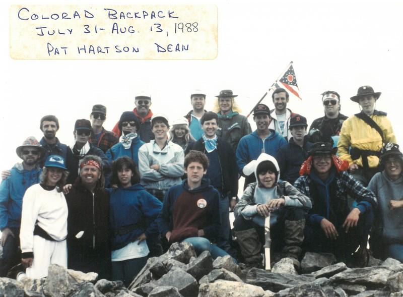 Colorado Backpack, July 31-Aug 13, 1988            Pat Hartson, Dean