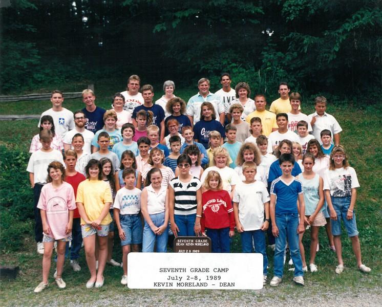 Seventh Grade Camp July 2-8, 1989 Kevin Moreland, Dean