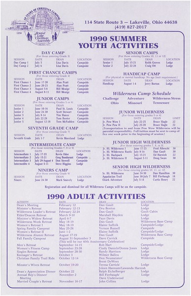 1990 Summer Youth Activities