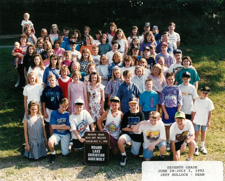 Seventh Grade, June 28-July 3, 1992 Jeff Bullock, Dean