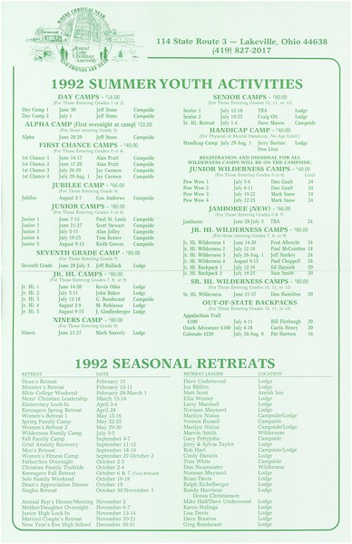 1992 Summer Youth Activities