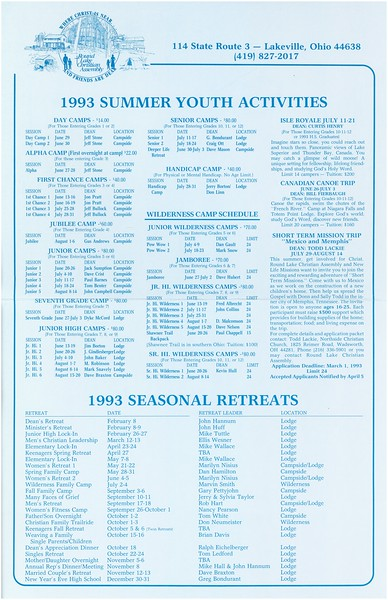 1993 Summer Youth Activities