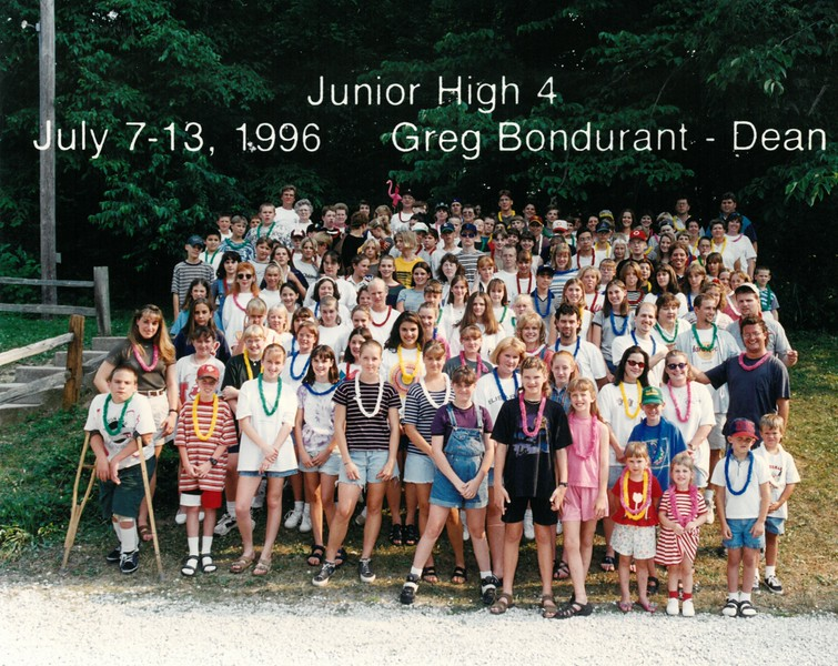 Junior High 4, July 7-13, 1996 Greg Bondurant, Dean