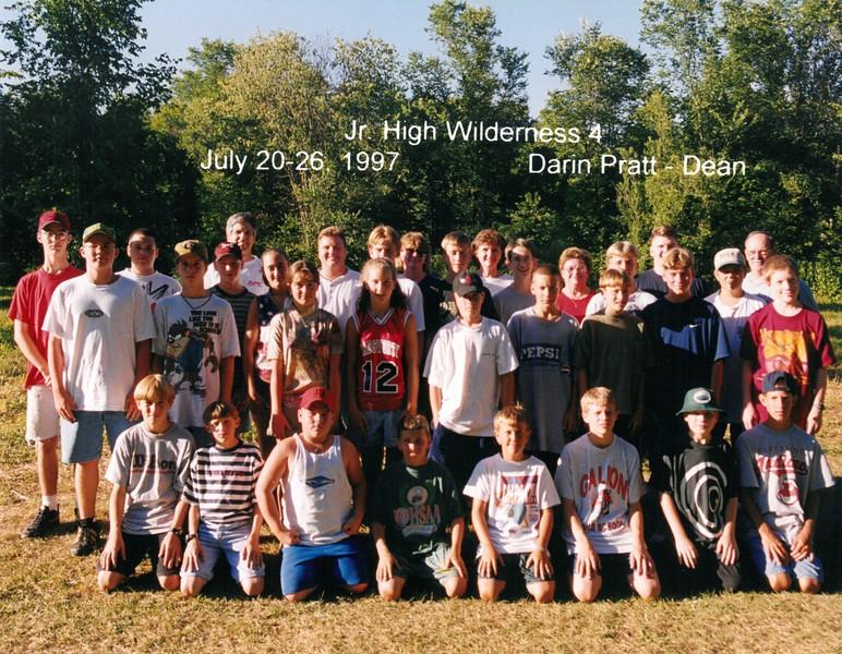 Junior High Wilderness 4, July 20-26, 1997 Darin Pratt, Dean