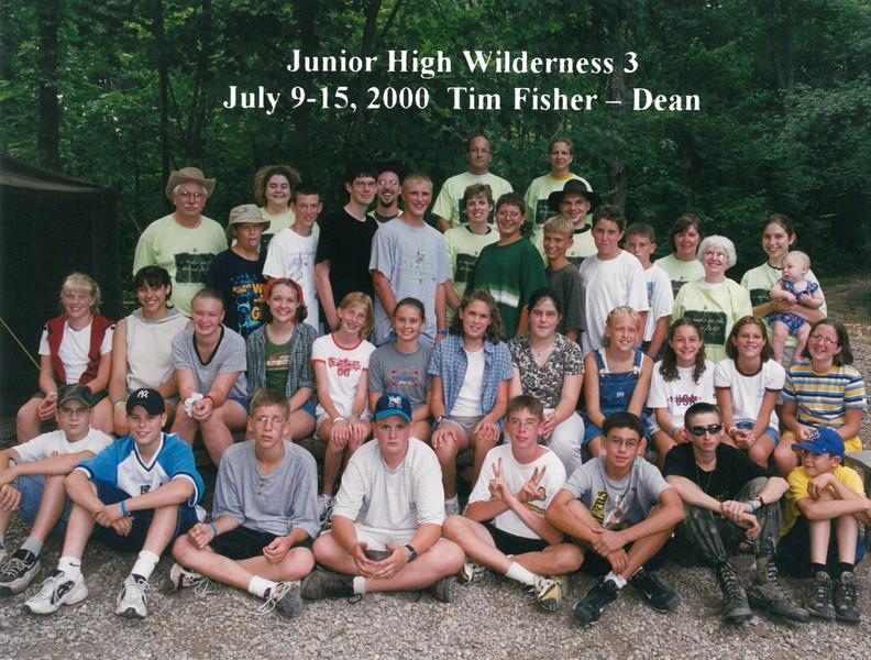 Junior High Wilderness 3, July 9-15, 2000 Tim Fisher, Dean