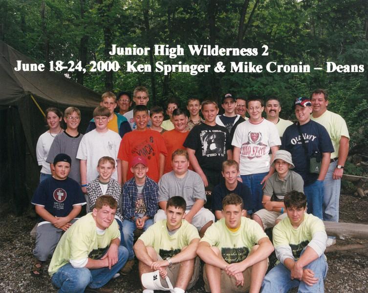 Junior High Wilderness 2, June 18-24, 2000 Ken Springer & Mike Cronin, Deans