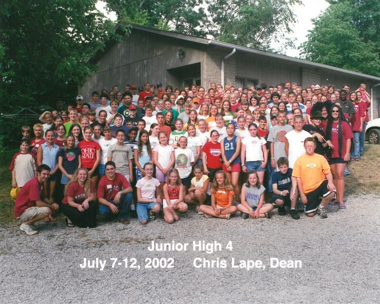 Junior High 4, July 7-12, 2002 Chris Lape, Dean