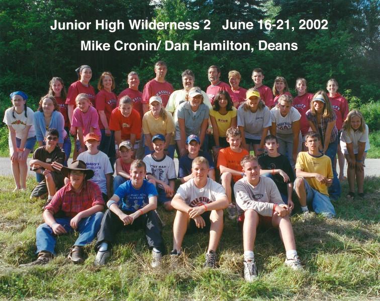 Junior High Wilderness 2, June 16-21, 2002 Mike Cronin & Dan Hamilton, Deans