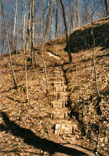 Steps built by Marvin Smith, leading up to Base Camp, 4 3 1991