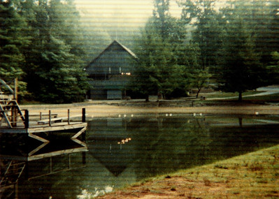 A view from the canoe dock of the old dining hall.