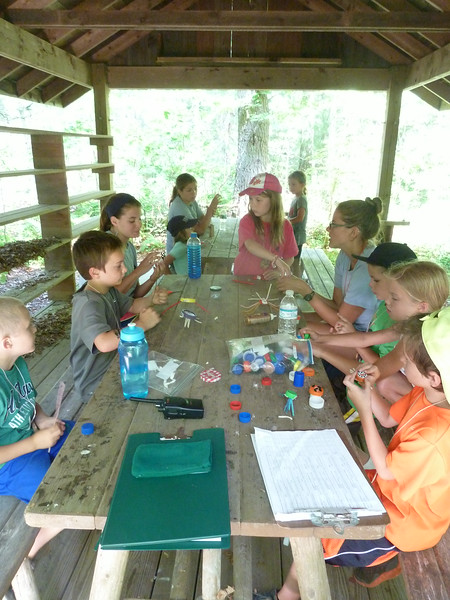 Getting crafty in the Big Oak Shelter.