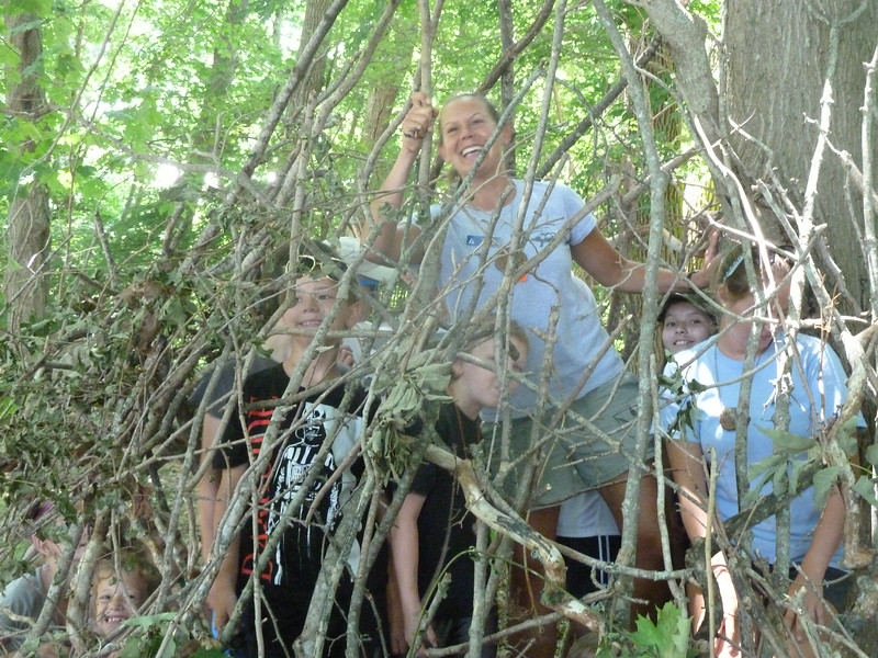 Nothing delights Twig more than when campers build stick forts!