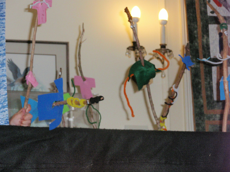 "Puppet show, starring newly made ""Twig"" people!"