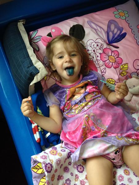 Emma's sucker was blue