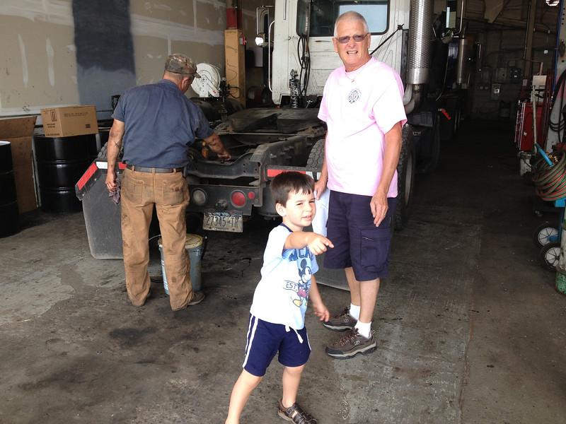 Stop at truck garage where Grandpa drives