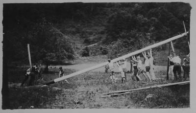 Raising the flagpole, 1924