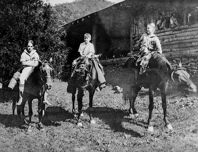 detail, boys on horseback; note no screens on dining hall windows