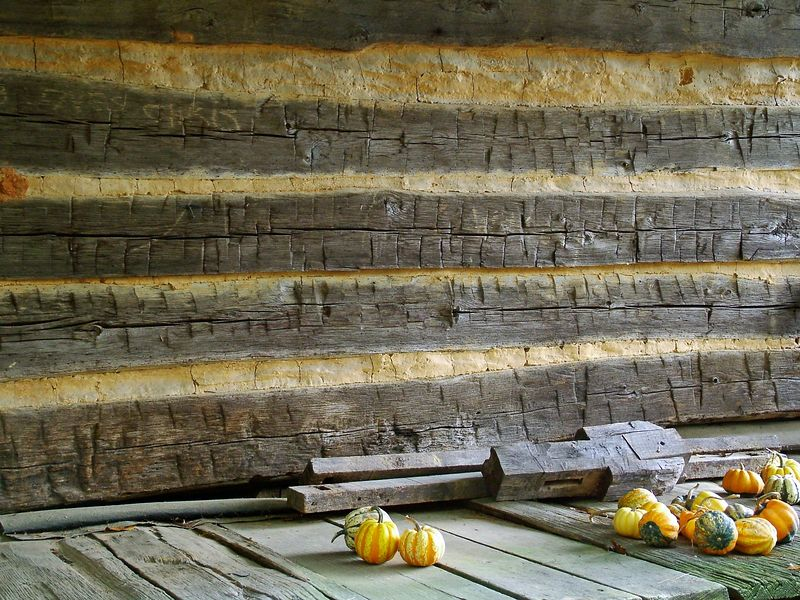 Gourds on log cabin porch