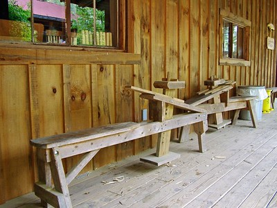 Porch outside woodworking shop