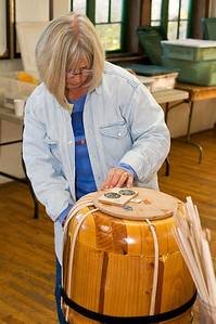 Judy puts in stave on a really big basket...