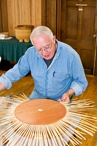 Richard preparing the staves for another Nantucket basket