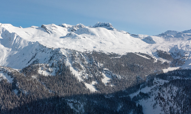 From the heli: the alpine basin cradling the lodge, at centre.