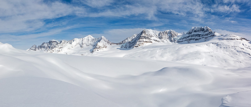 Campbell Icefield panorama from the moraine route. Click image for large version, back button on browser to return.