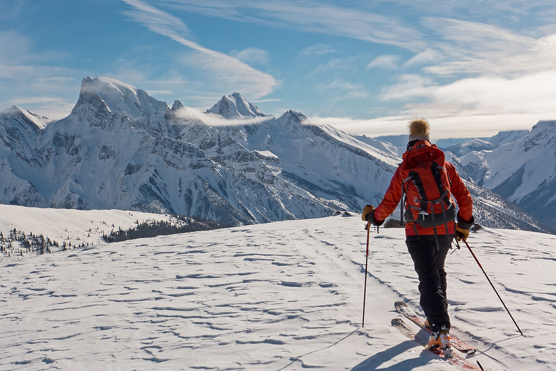 A skier  and her pet hat, looking southeast from the Dome across the Waitabit valley.