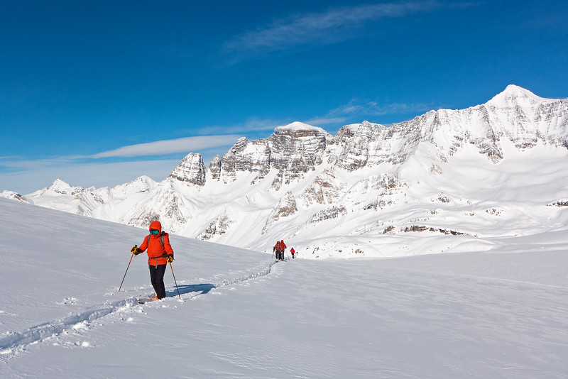 Bundled up for a frigid return, after skiing the Gold Dust run down towards the icefield.
