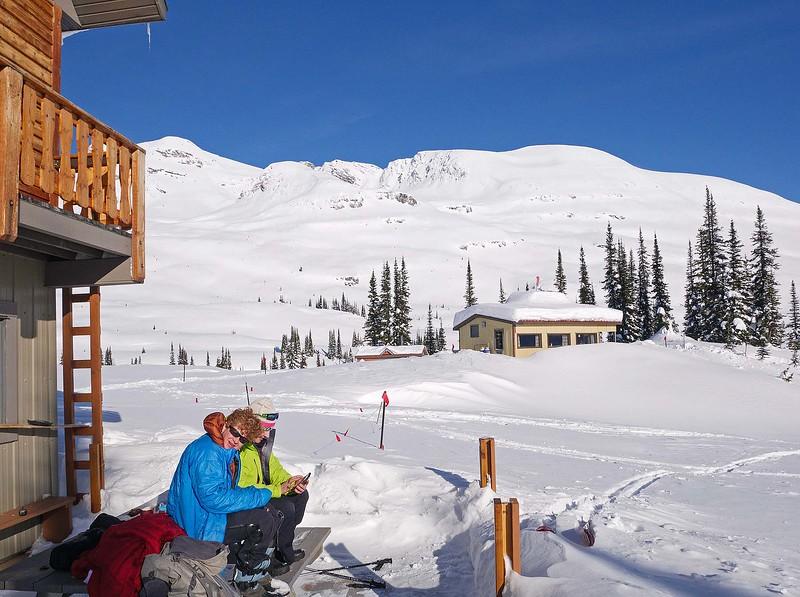 Back at the lodge- Jo and Irene were enjoying apres-ski tea in the warm sun.