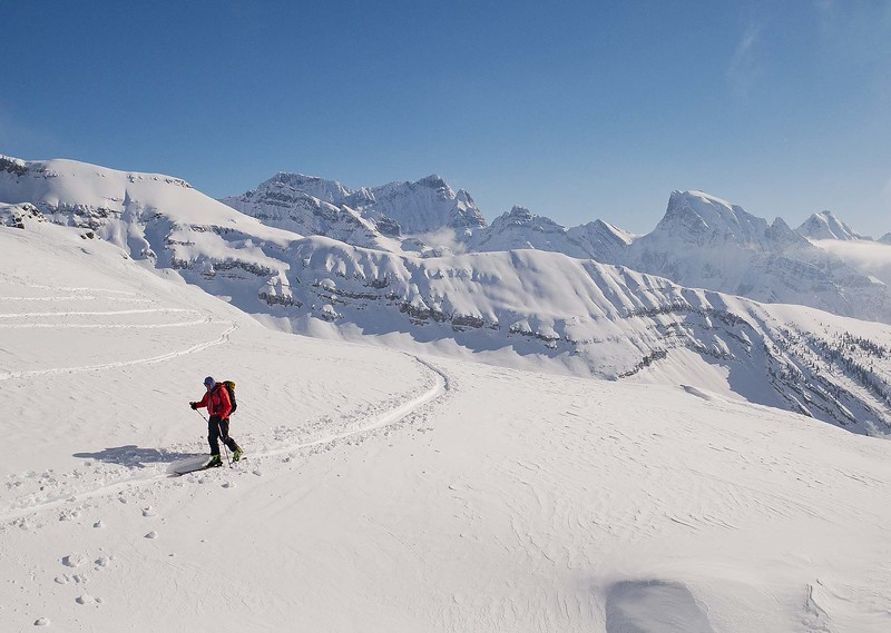 An exploratory descent into the Waitabit Valley revealed little in the way of good skiable snow. After a couple of crashes, and in the face of a cold wind flowing off the icefield- we wimped out and retreated back over the col.