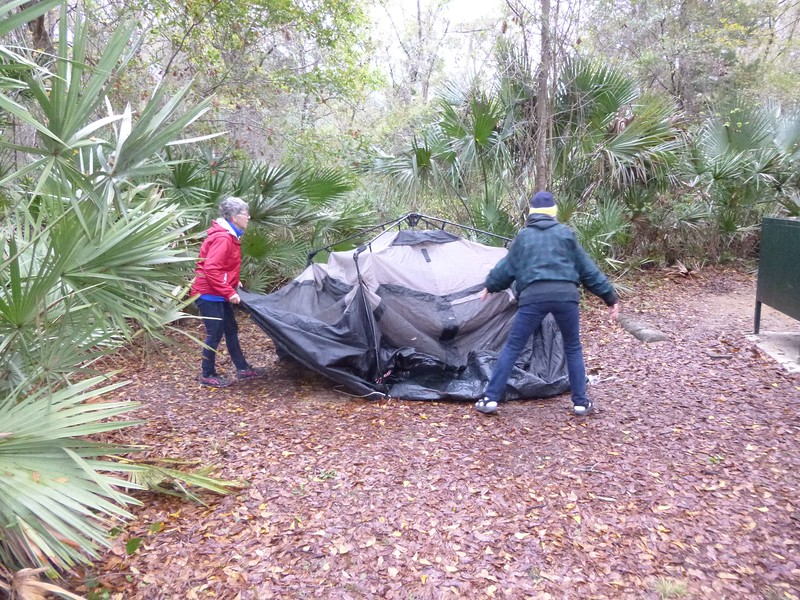Record #436   DATE: 3/14/2017  DAY: Tue  ST:  FL NAME:  Home LOCATION:  Tampa SITE #:   no    COST:   no For breakfast, Betty & I had eggs, bacon, and a blintz.  The plans from last night was that we would break camp and then stop at Silver Springs to paddle the river.  However, the weather was cold, overcast, and windy, so it was decided to cancel until some other adventure took us back to Ocala.  Rhondia, Sharon, Teddi Buel, and I stayed in camp until check out at 1pm.  We walked down to Juniper Springs, and then to Fern Hammock Springs.  The 5 foot alligator we saw yesterday on a sandy patch of land near Fern Hammock Springs was now under the 72 degree water at the bottom to keep warm than the 50 air degrees.  I stopped at the dump station before leaving the CG.  I debated how to drive home.  I should have drove FL35S to work my way to I75.  No, I went west on FL40 to I75, but had to make a U-turn because of an accident prevented getting on I75.  After backtracking, picking up FL200, I finally got on I75.  This trying to navigate, read maps, and drive at the same time is not something I like to do.  Believe it or not, I had not driven very far on I75, when I saw Rhondia, Barb Carrier, and Shirley Anderson's vehicles come up along side me.  They had all stopped to checkout Silver Springs for a future paddle, and were now on their way home.    Rhondia was the only one I could keep up with since she was pulling a popup trailer.  We both stayed in sight of each other all the way to Tampa when I then turned off.  It was a two-handed drive for me since the 25mph wind was blowing the camper all over the place.  On arrival home, the fridge gas was still going.  Glad, but surprised the wind did not blow it out.