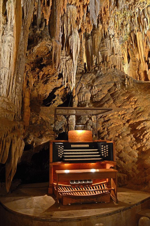 Organ console that controls plungers to tap various stalactites so that music can be played!