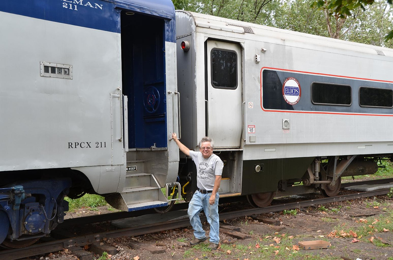 6132: Lauren Keiser, our personal guide, boarding the Ex-Nickel Plate #211 Pullman Sleeper.