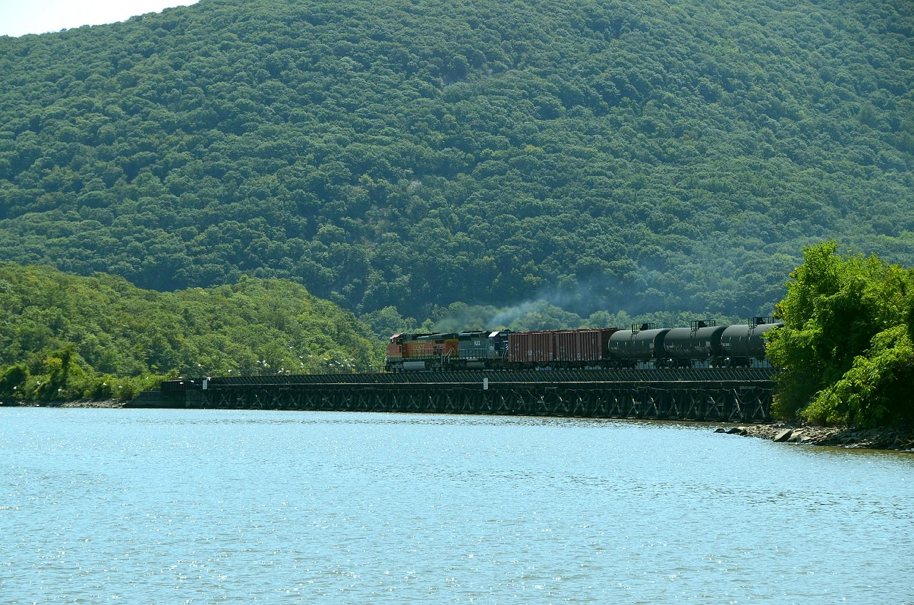 This is the same BNSF train in the previous photo. I ran under the mainline, out onto the dock to catch this shot. Note all the little white  specks (seagulls) leaping to flight off the long low wooden trestle infront of the train.
