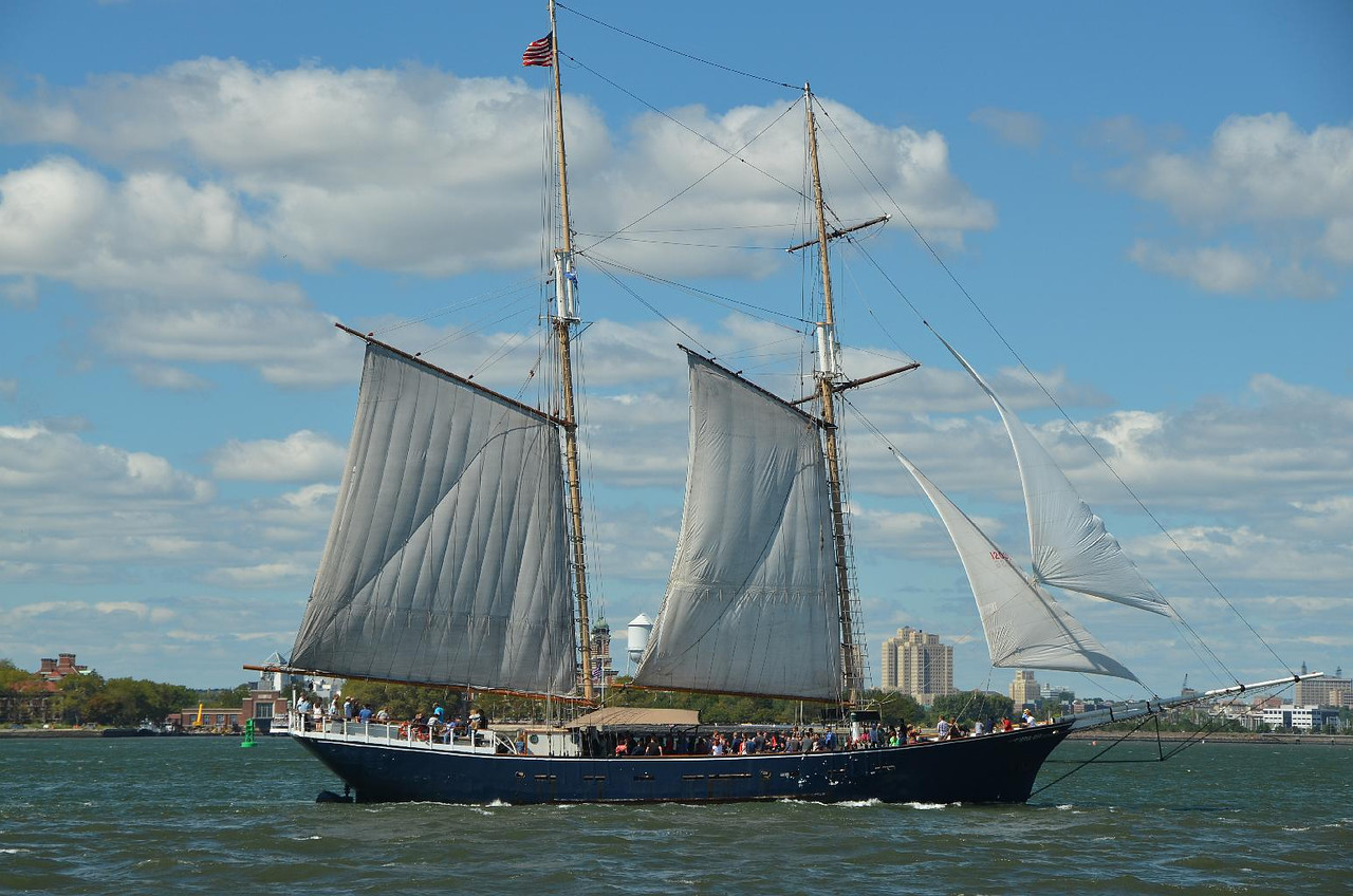 What a fine gaff rigged schooner. There used to be a smaller one based at the South Street Seaport named Pioneer. The boat I sailed, the Petrel, once literally sailed a ring around her. Just not that fast in light air.
