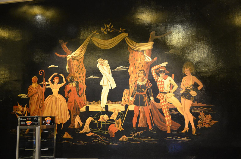 Artwork depicting current (1932) famous actors  of stage and screen in the Grande  Lounge.