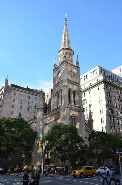 Marble Collegiate Church, Dutch Reform Church of America. One of the orirginal congregation elders, Peter Minuet, bought Manhattan Island from the Indians. Longest continuous serving church in America. I was  lucky enough to be a member of this church during the last three years of Norman Vincent Peale's ministry here.