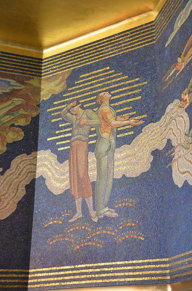 Inside the main entrance to Rockefeller Center is the mural done in mosaic stones depicting man's eternal choce between good  and evil, and his quest to aspire to better. They don't make buildings that inspire anymore. How come??