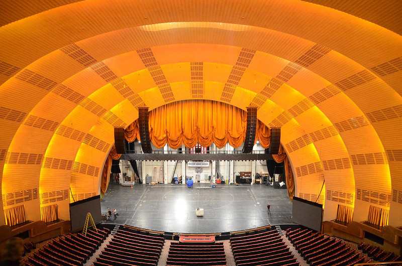 The main state and proscenium arch above it at Radio City Music Hall. At first I was disappointed that the curtain was raised, but it now shows the different lift areas and center turntable built into the stage. Quite impressive. As a young boy, this was the first stage I ever stepped foot on. Hard to be impressed with any other since....