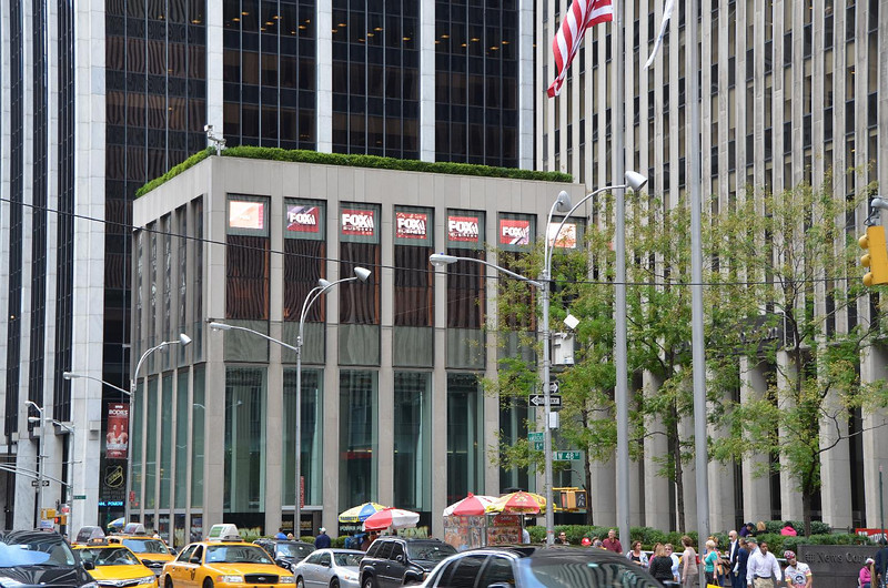 """Fox news has it's blond news anchors broadcast from these studios. The windows all have neutral density - tungsten balance gels all over the windows to balance the daylight outside with the hot lights inside. In the background you always see """"Radio City Music Hall"""" in the background."""
