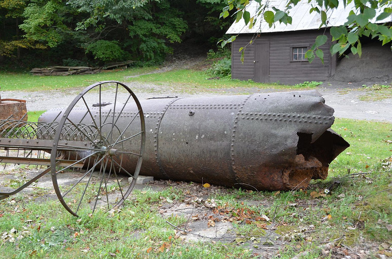 Looks like a steam locomotive boiler that had exploded. Ouch!