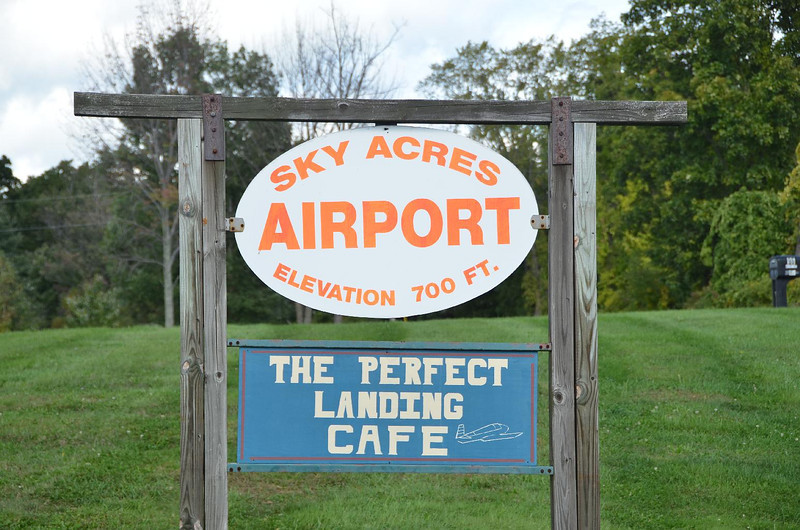 Scott & Cathy: Sky Acres Airport. N41º 42,382', W73º 44,149'. 9 1/2 airmiles East of  Poukeepsie, NY. Taconic State Pky North to State Route 55, East to State Route 82. Two miles north. Can't miss it.... (famous last words).
