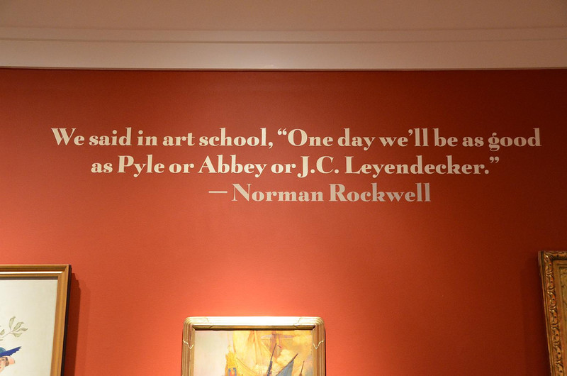 The visiting gallery at the Norman Rockwell Museum was filled with works by Howard Pyle, an extremely talented and successful illustrator from the turn of the last century. Norman Rockwell was inspired by Pyle's work. Pyle was new to me, and worth the trip to see his work.