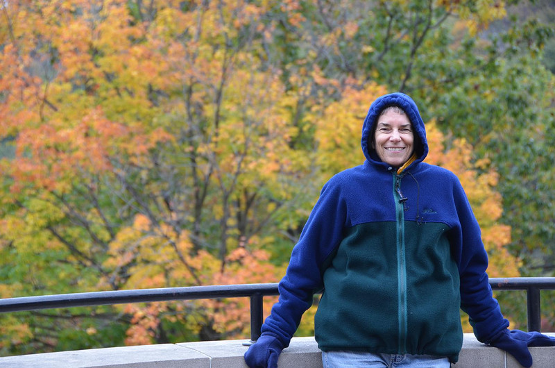 This is Gail, dressed for train-watching at the Horseshoe curve.... brrrrrr...